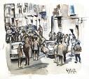 Palermo 1982 - Crime News - Lucio Forte - Acquerello - 120 €